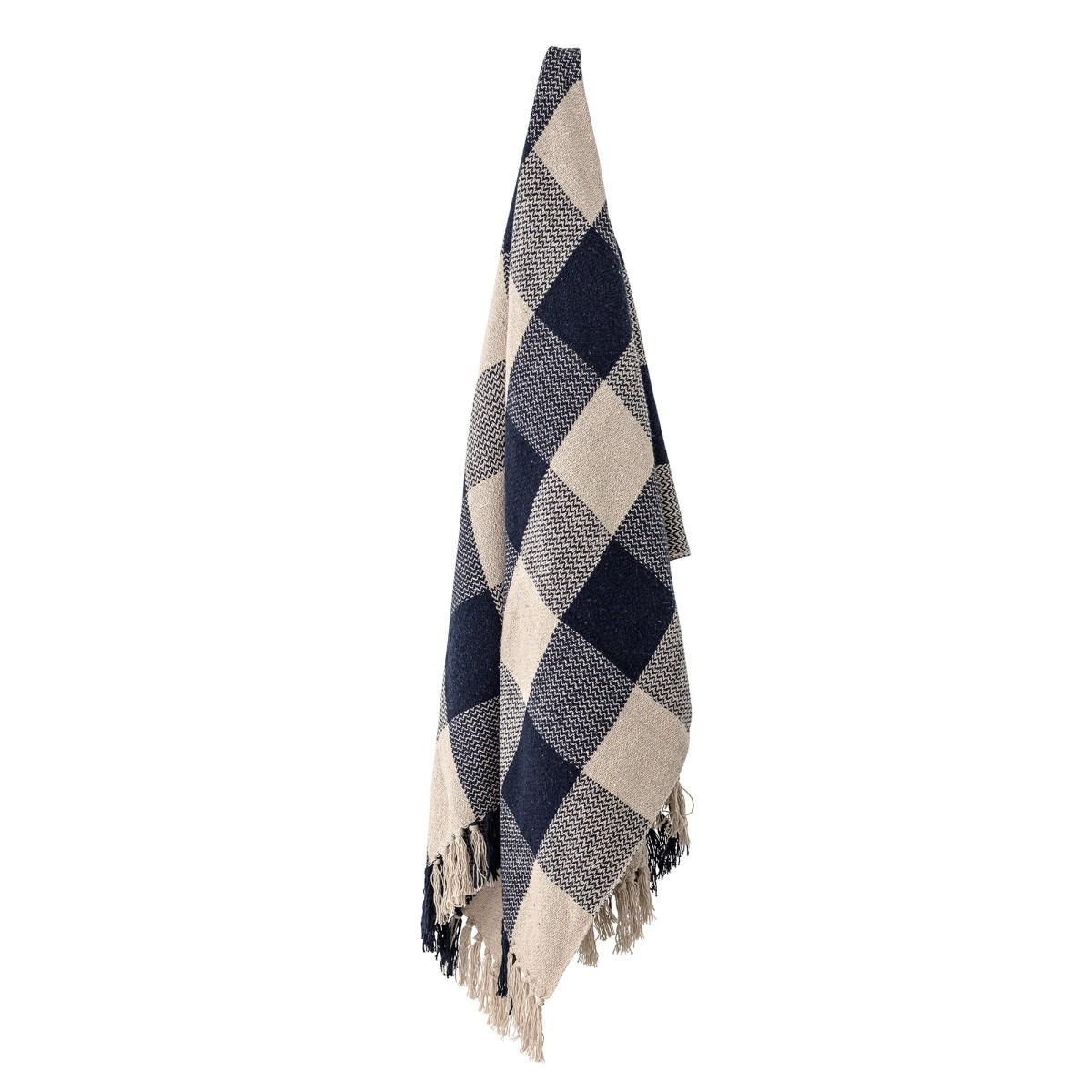 Pléd z recyklované bavlny Faya 150x125 cm modro béžový_1