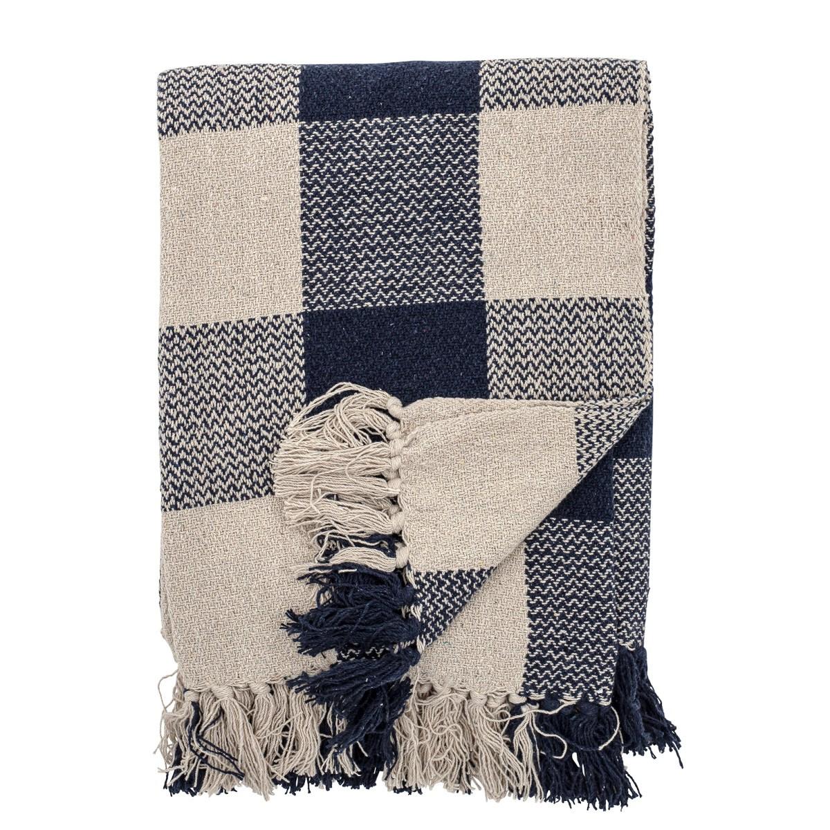 Pléd z recyklované bavlny Faya 150x125 cm modro béžový_2