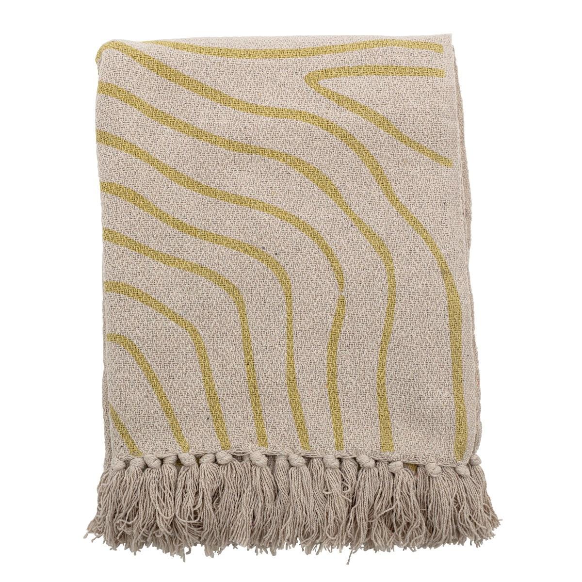 Pléd z recyklované bavlny Dami přírodní / žlutý_0