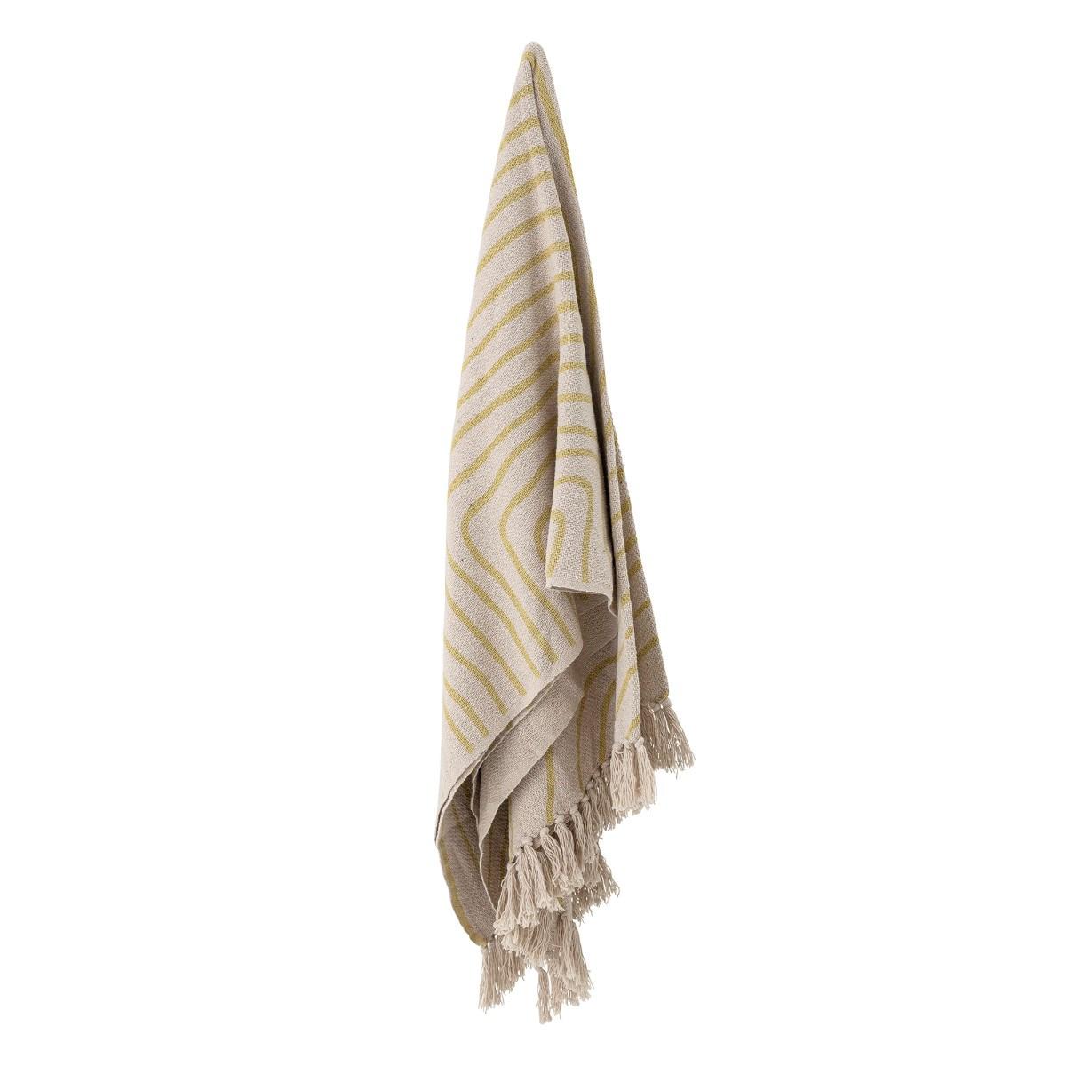 Pléd z recyklované bavlny Dami přírodní / žlutý_1