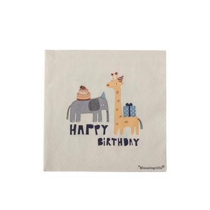 Papírové ubrousky Happy Birthday slon, žirafa SET/20 ks_0