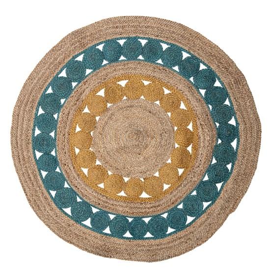 Kulatý koberec Marlin 119 cm modrý juta_3