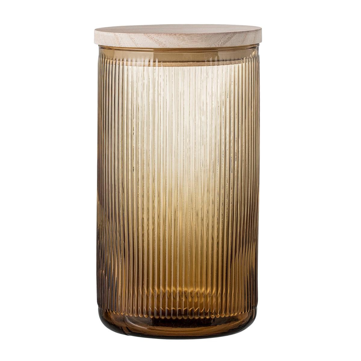 Skleněná dóza hnědá s dřevěným víčkem V.21,5 cm_1