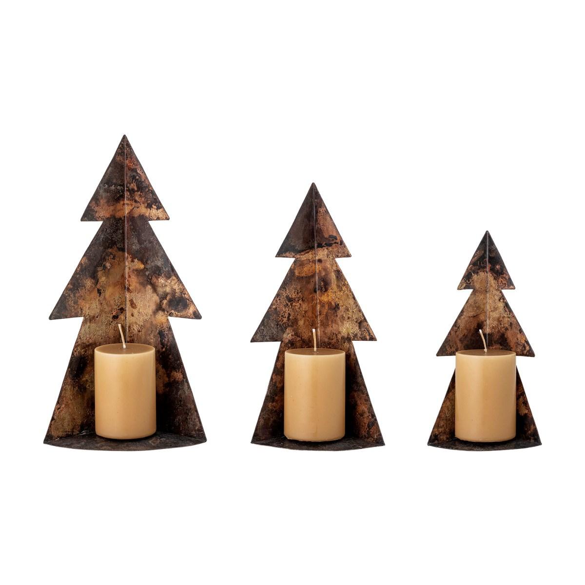 Kovové vánoční stromky Rony, hnědé, SET/3 ks_0