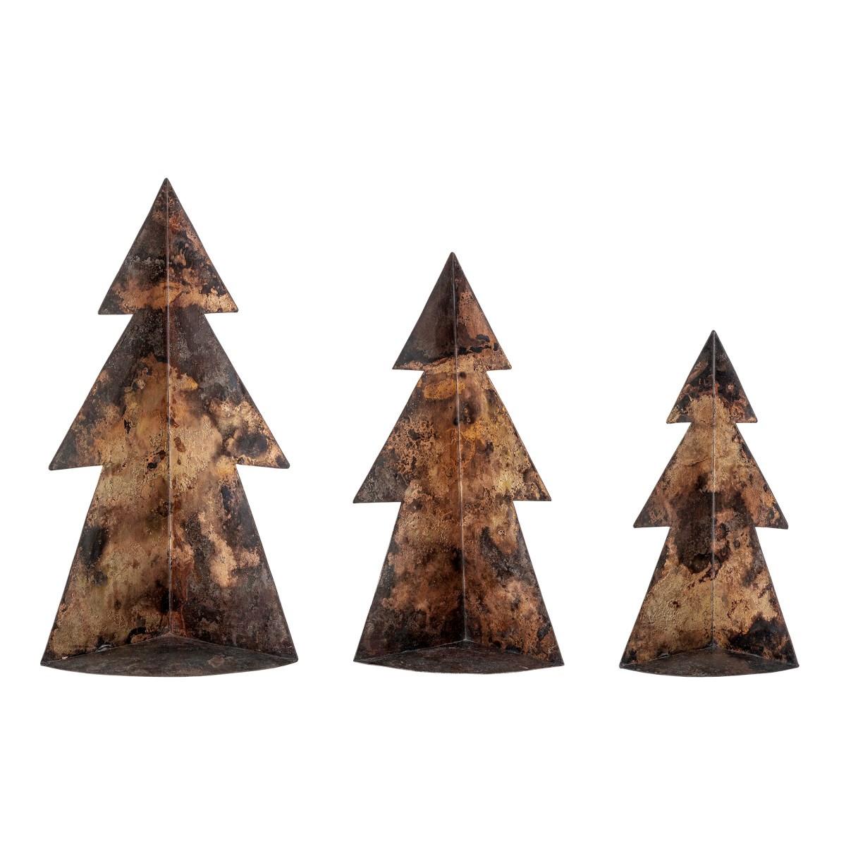 Kovové vánoční stromky Rony, hnědé, SET/3 ks_1