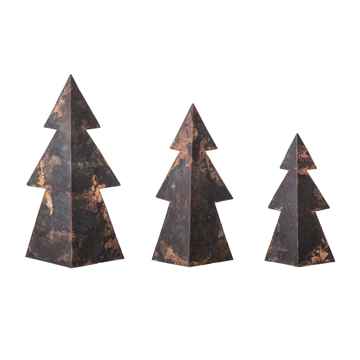 Kovové vánoční stromky Rony, hnědé, SET/3 ks_2