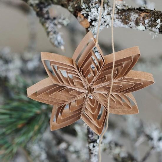 Papírová ozdoba hvězda QUILLING 10 cm přírodní_3
