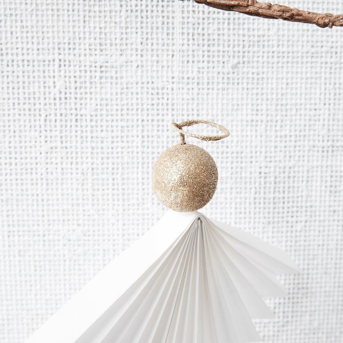Vánoční ozdoba papírový anděl ANGELS 36 cm bílý_2