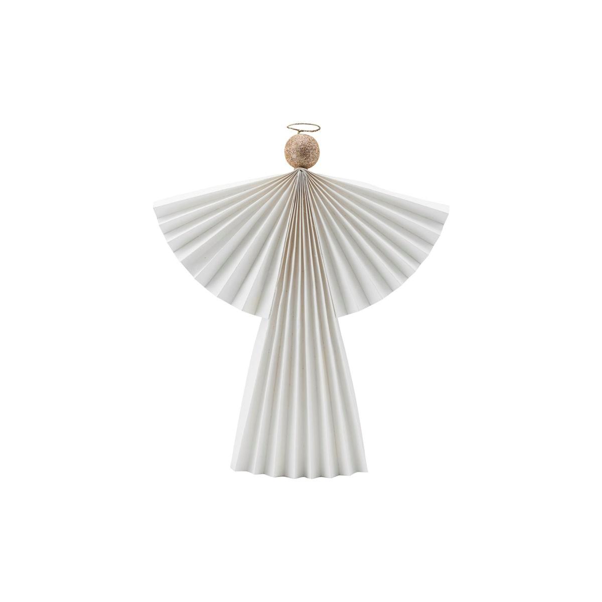 Vánoční ozdoba papírový anděl ANGELS 36 cm bílý_3
