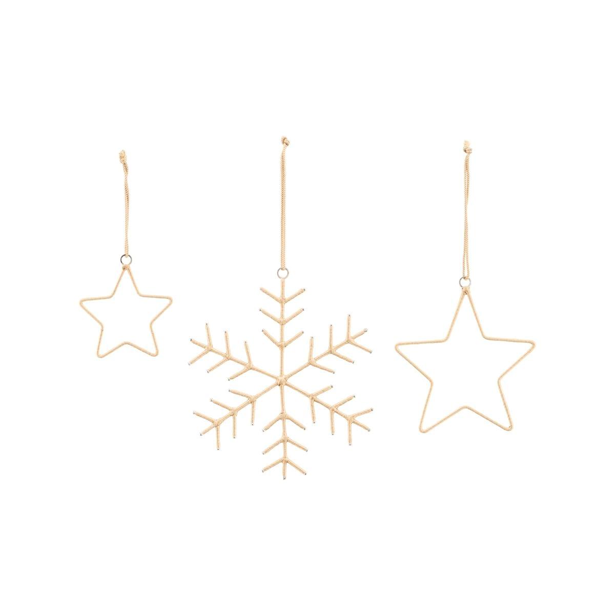 Vánoční dekorace SNOWFLAKE & STARS SET/3ks zlatá_2