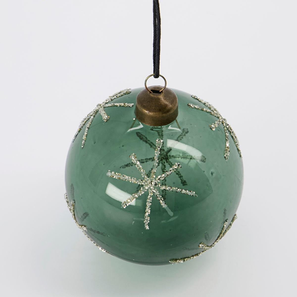 Vánoční ozdoba STAR Green 8 cm koule zelená_1