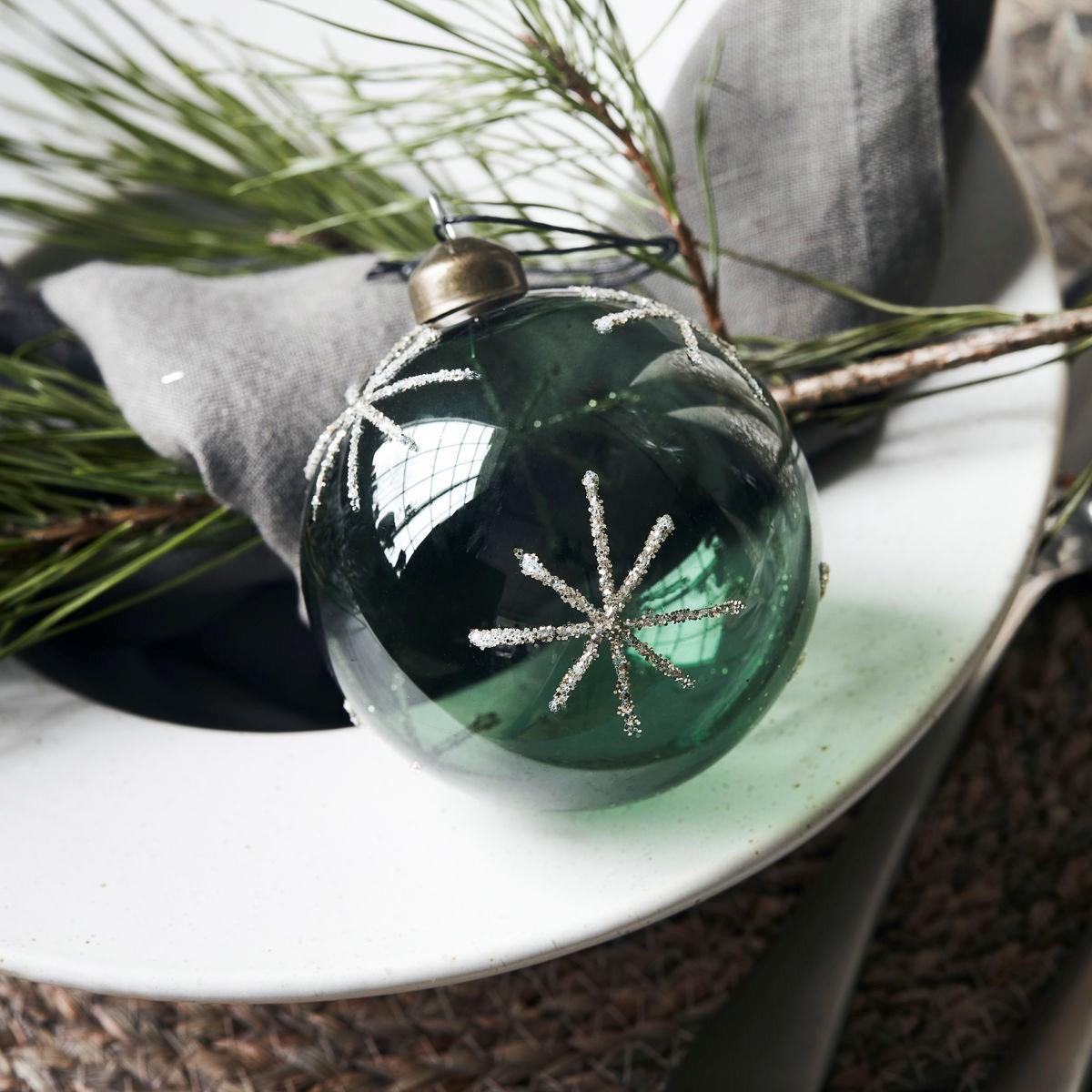 Vánoční ozdoba STAR Green 8 cm koule zelená_4