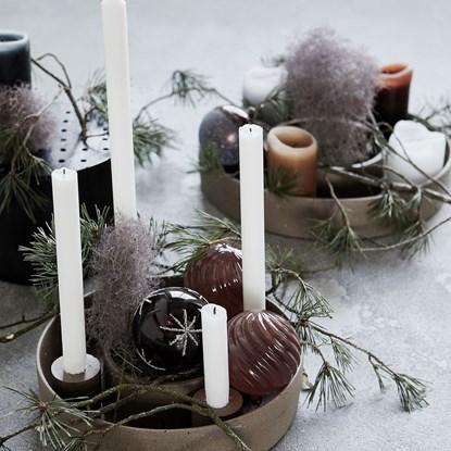 Adventní kulatý svícen DACA na 4 svíčky 26 cm hnědý_3
