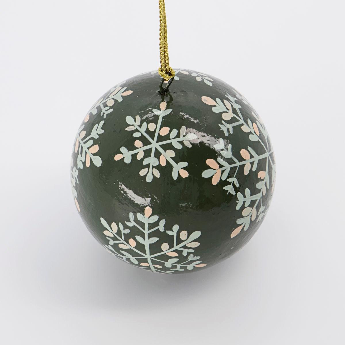 Vánoční ozdoba MACHE 8 cm koule zelená_1