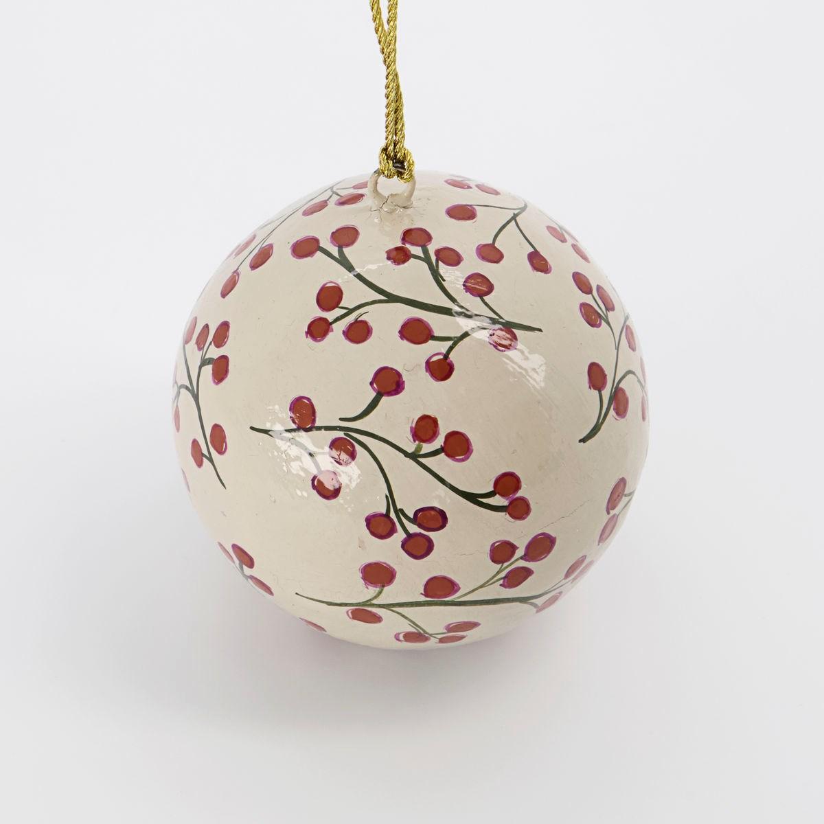 Vánoční ozdoba MACHE 8 cm koule písková_1