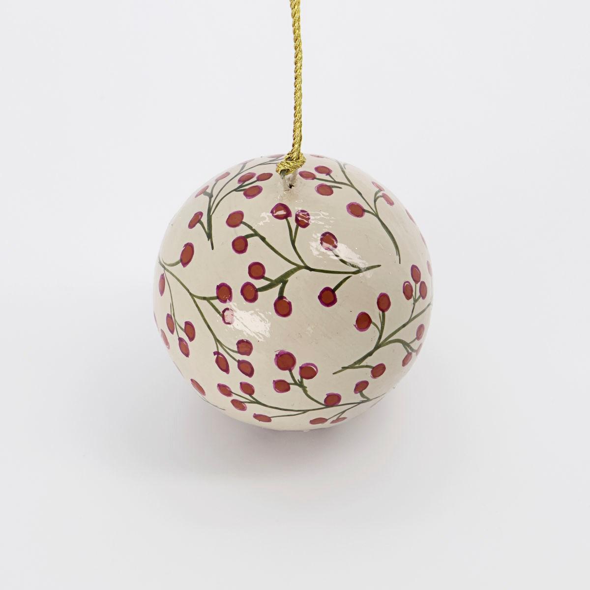 Vánoční ozdoba MACHE 5 cm koule písková_1