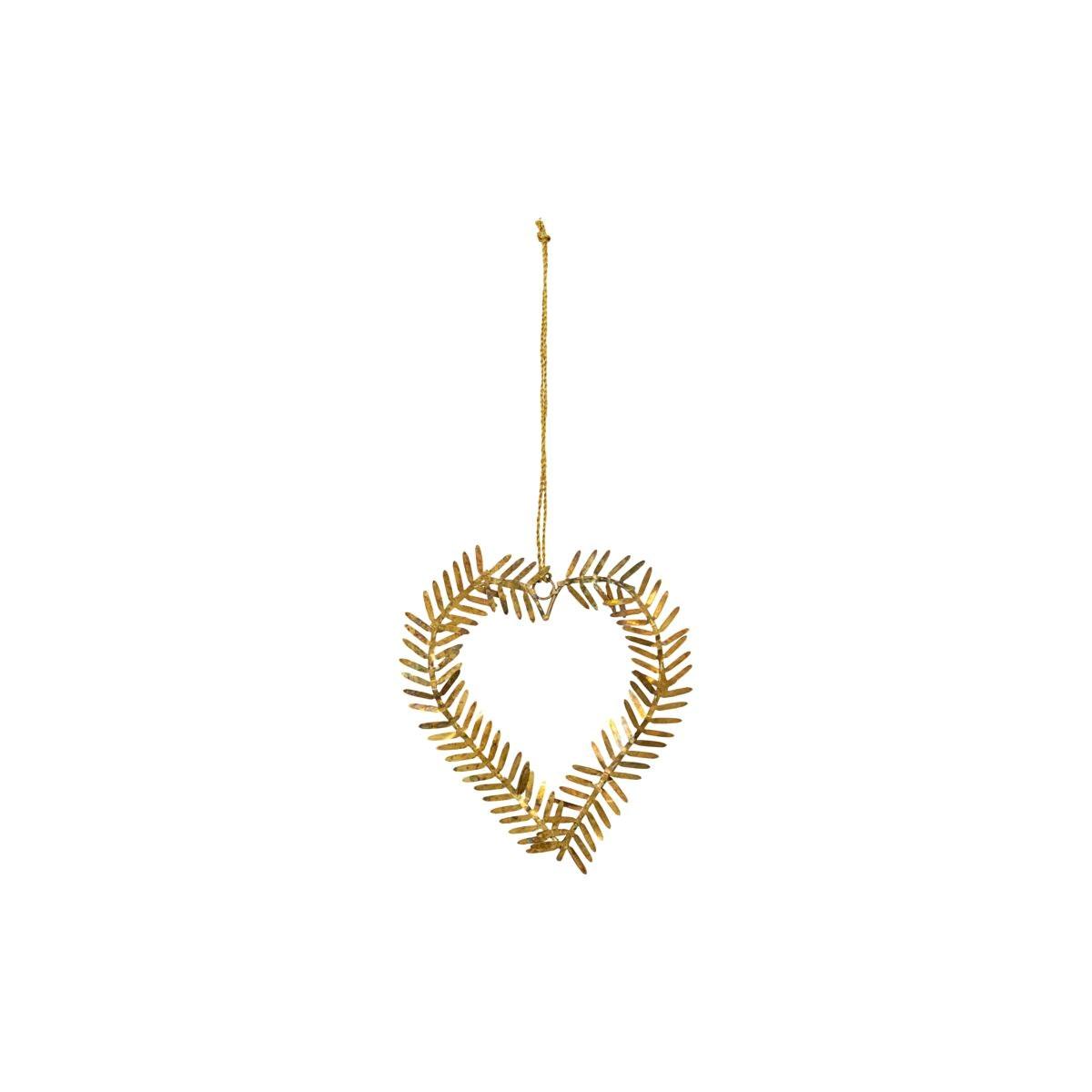 Vánoční ozdoba srdce z větviček LAMET 10 cm mosazná_0