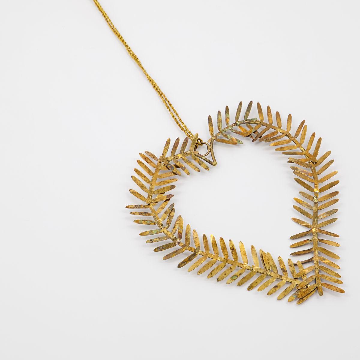 Vánoční ozdoba srdce z větviček LAMET 10 cm mosazná_1