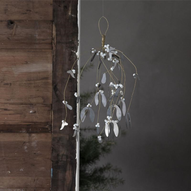Obrázek z Vánoční dekorace jmelí MISTLETOE 40 cm Antique metallic