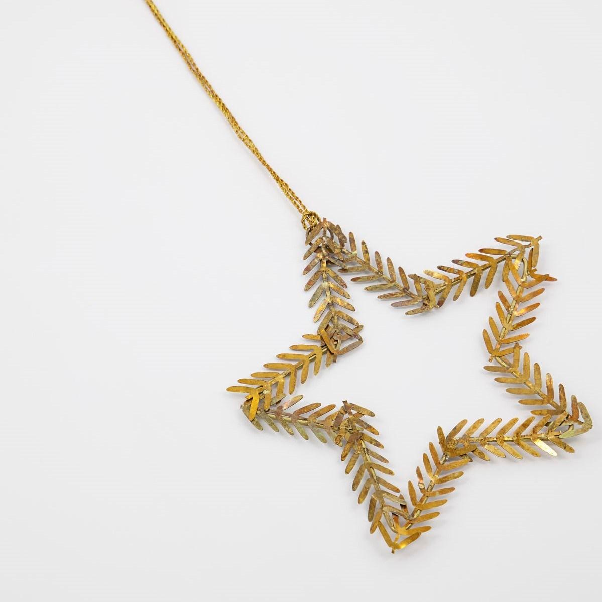 Obrázek z Vánoční ozdoba hvězda z větviček LAMET 10 cm mosazná