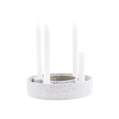 Obrázek Adventní kulatý svícen RING na 4 svíčky 26 cm šedý