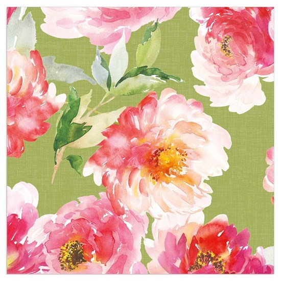 Papírové ubrousky 33x33 cm BAL/20ks Aquarellblüten/grün_0