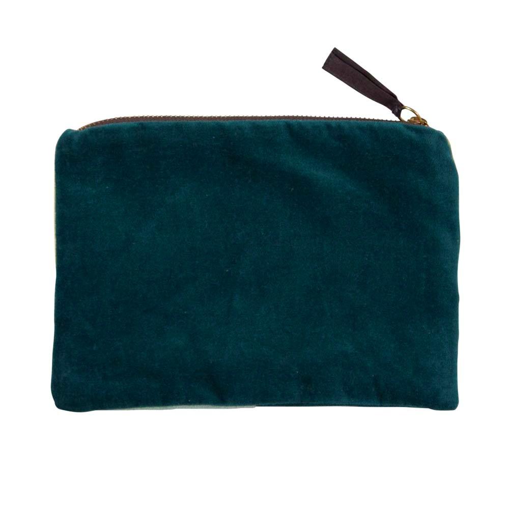 Sametová kosmetická taštička 22x15 cm Color Blocking grün_0
