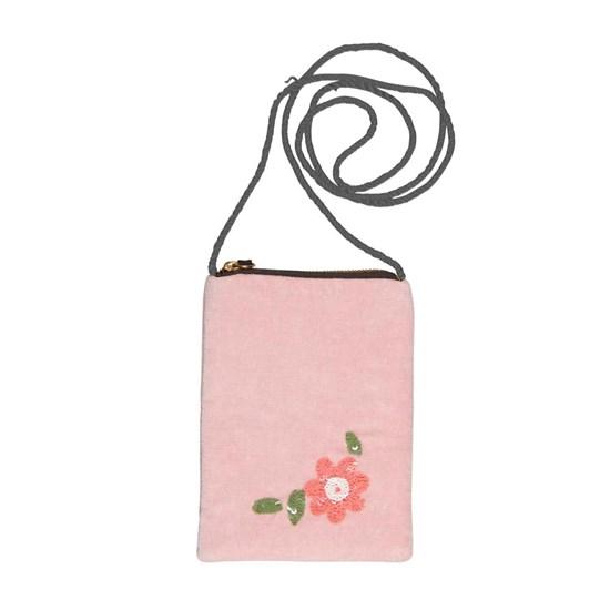 Sametová kabelka s řetízkem 14x19 cm Blumen pink_0