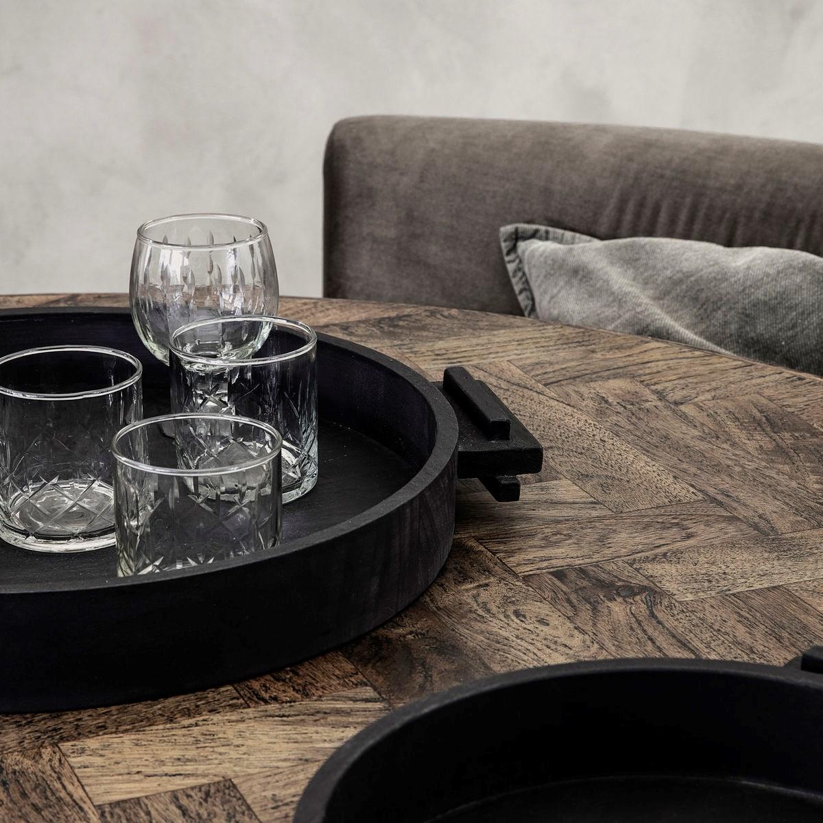 Dřevěný kulatý tác / podnos BLOCK 45 cm černý_1