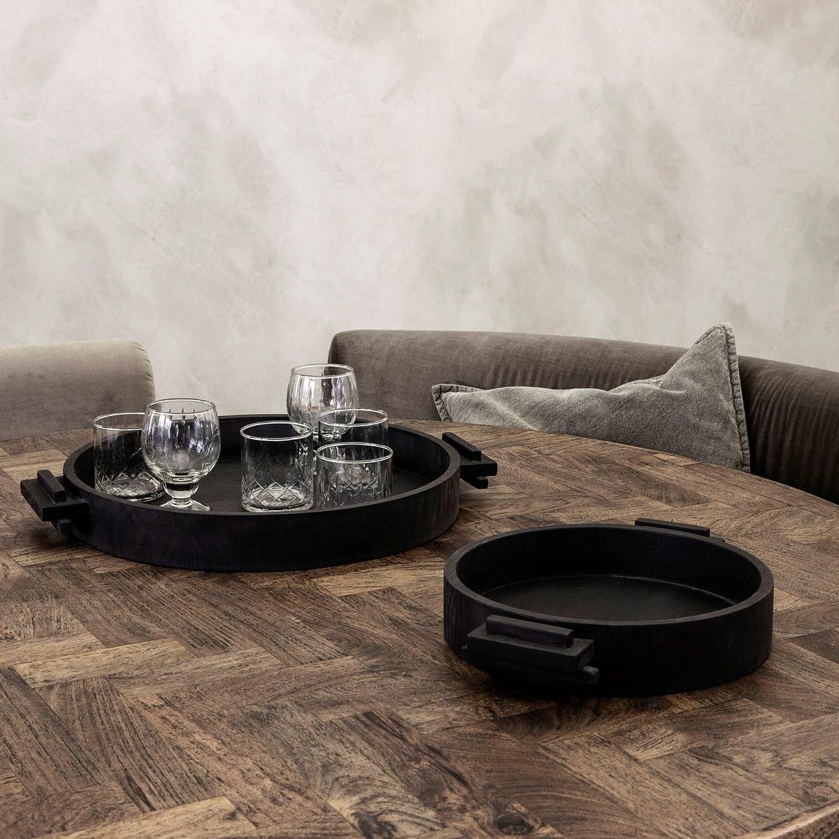 Dřevěný kulatý tác / podnos BLOCK 30 cm černý_0