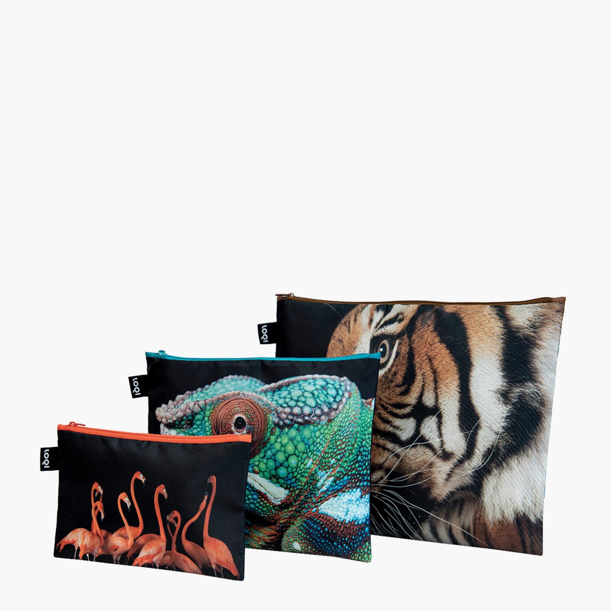 Cestovní pouzdra na zip SET/3ks LOQI NATIONAL GEOGRAPHIC Tiger, Chameleon, Flam._3