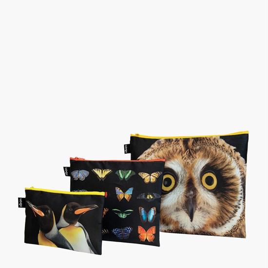 Cestovní pouzdra na zip SET/3ks LOQI NATIONAL GEOGRAPHIC Owl, Butterflies, Peng._0